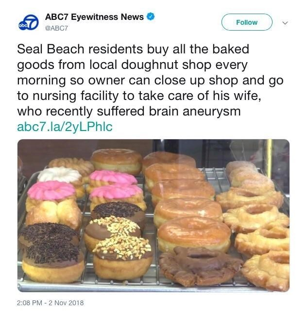 tweet post about locals purchasing all items from a bakery so the owner can close early and visit his wife in the hospital by: @ABC7