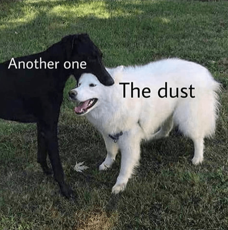 "picture of dog captioned ""another one"" biting second dog captioned ""the dust"""