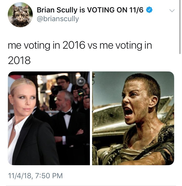 voting in 2016 vs voting in 2018 meme with picture of Charlize Theron on the red carpet vs in Mad Max
