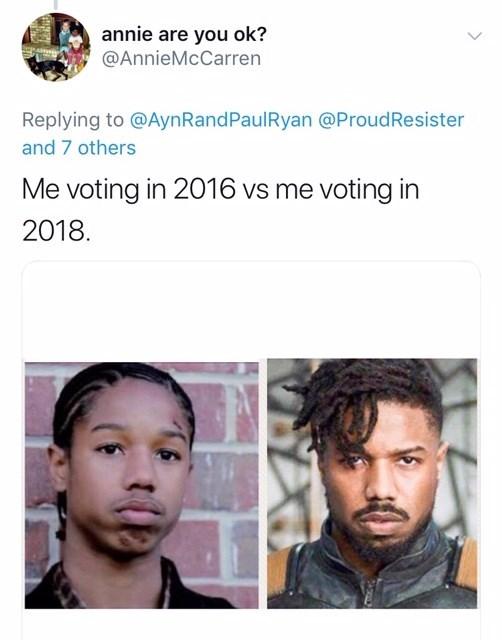 voting in 2016 vs voting in 2018 meme with pictures of Michael B. Jordan as child vs as Killmonger in Black Panther