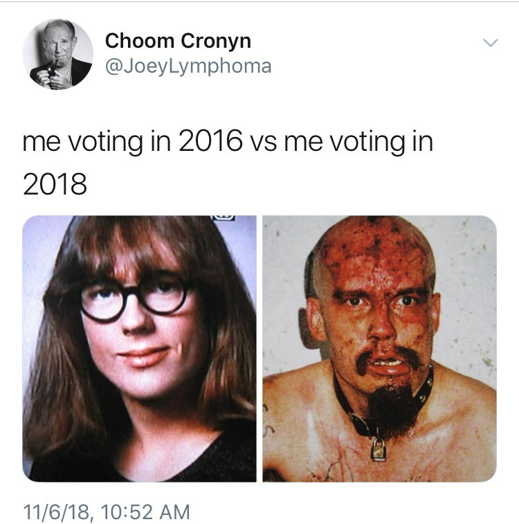 voting in 2016 vs voting in 2018 meme with picture of bloodied GG Allin