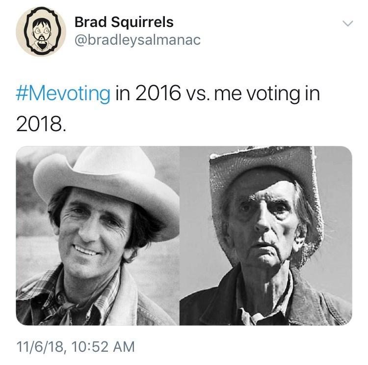 voting in 2016 vs voting in 2018 meme with pictures of Harry Dean Stanton smiling vs looking grim