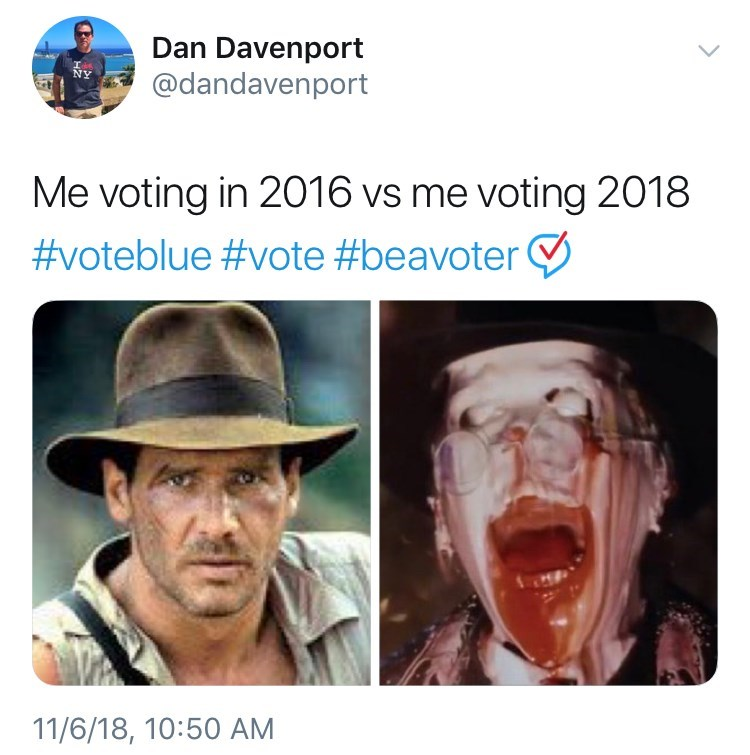 voting in 2016 vs voting in 2018 meme with picture of Indiana Jones