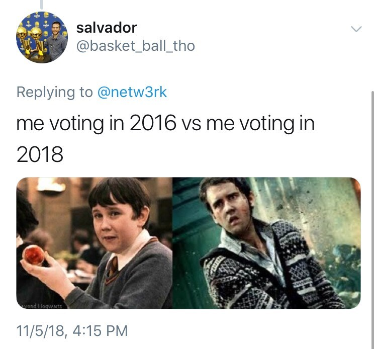 voting in 2016 vs voting in 2018 meme with pictures of Neville from Harry Potter as smiling child vs as serious adult