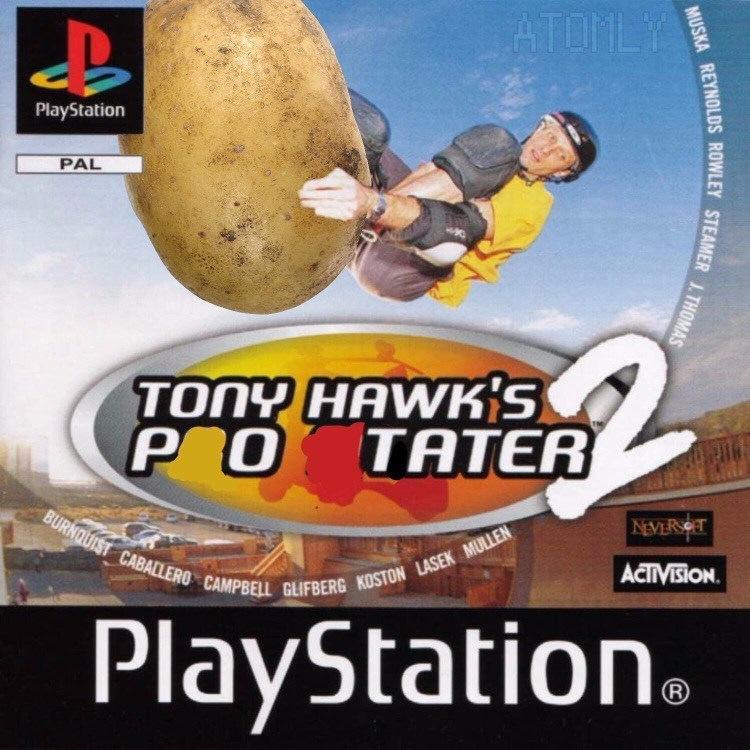 Tony Hawk Playstation game with cover of him riding potato instead of skateboard