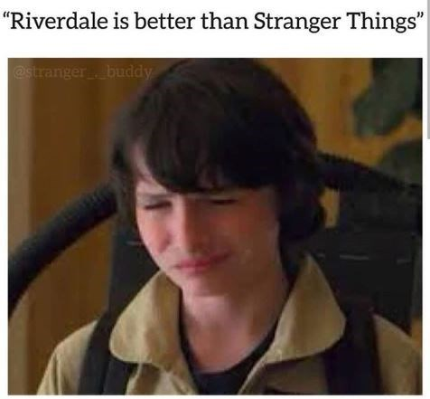 """picture of Noah Schnapp scrunching up face in reaction to someone saying """"Riverdale is better than Stranger Things"""""""