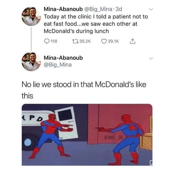 Spiderman pointing meme about doctor meeting patient at McDonald's