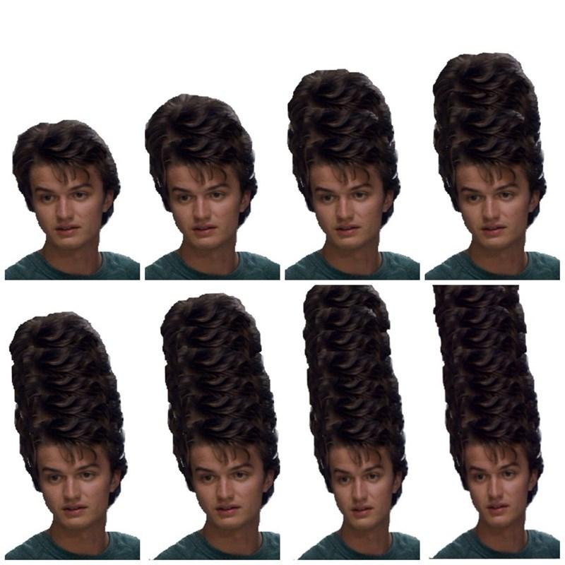 meme about Steve Harrington's hair in Stranger Things