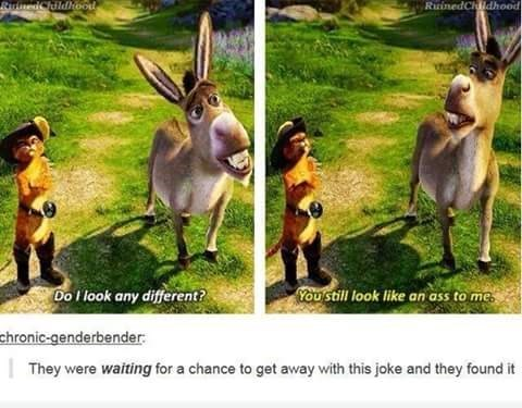 Tumblr thread about Shrek movie making pun about Donkey being an ass