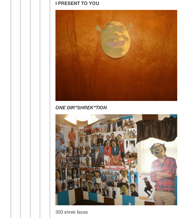 Tumblr thread showing wall of posters of One Direction with their faces swapped with Shrek's