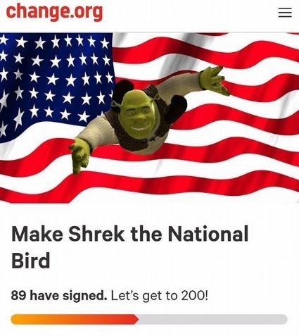 change.org petition to make Shrek the national bird