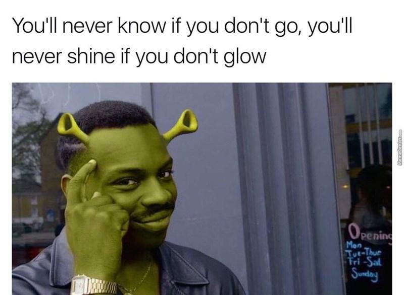 roll safe meme photoshopped to look like Shrek with Smash Mouth lyrics