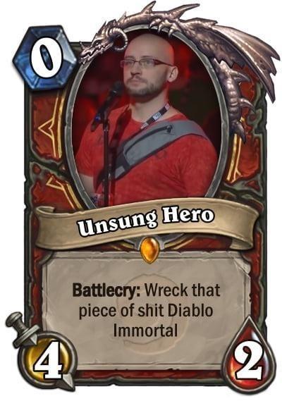 Diablo Immortal meme with unsung hero card