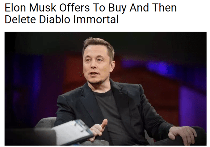 meme about Elon Musk buying and deleting Diablo Immortal