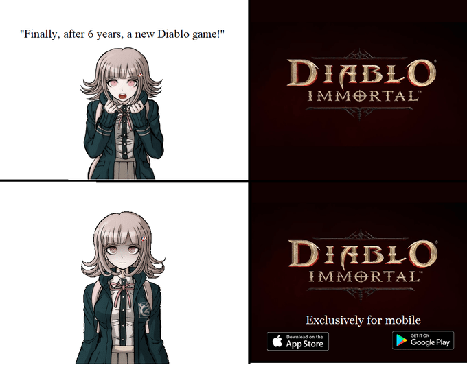 Danganronpa meme about Diablo Immortal with pictures of Chiaki