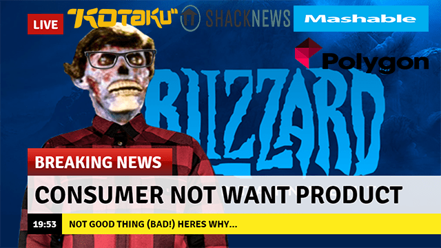 meme about consumers not wanting Diablo Immortal with image of Zombie news reporter