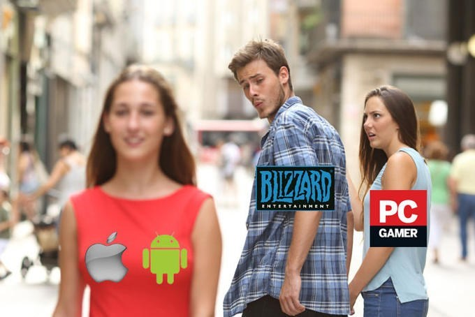 distracted boyfriend meme about Blizzard making Diablo Immortal for mobile rather than PC