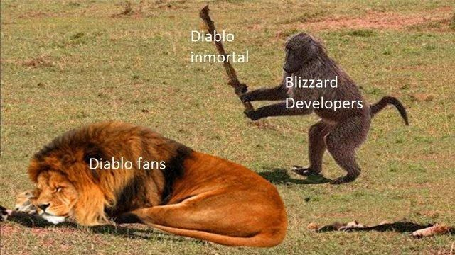 meme about Diablo Immortal with picture of monkey about to his sleeping lion