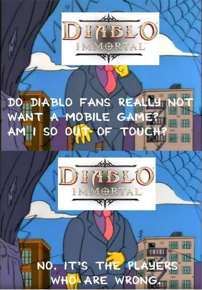 Simpsons meme about Blizzard being out of touch with Diablo fans with pictures of Mayor West