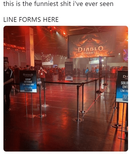 meme about Diablo Immortal with picture of empty line