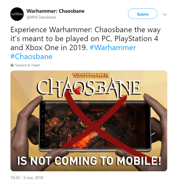 Tweet about Warhammer Chaosbane making fun of Diablo Immortal by announcing they're not coming to mobile