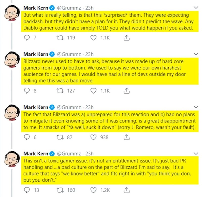 Text - Mark Kern @Grummz 23h But what is really telling, is that this*surprised* them. They were expecting backlash, but they didn't have a plan for it. They didn't predict the wave. Any Diablo gamer could have simply TOLD you what would happen if you asked. 7 ti119 1.1K @Grummz 23h Mark Kern Blizzard never used to have to ask, because it was made up of hard core gamers from top to bottom. We used to say we were our own harshest audience for our games. I would have had a line of devs outside my