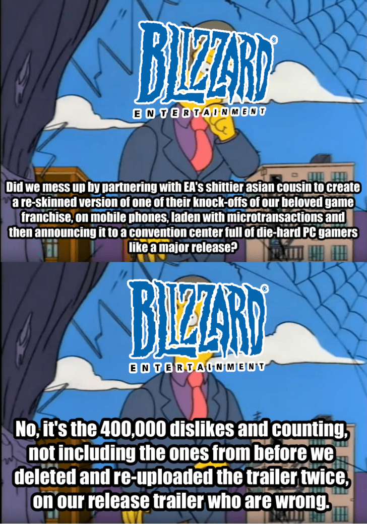 Comics - BIZANY ENTERTADNMENT Did we mess up by partnering with EA'S shittier asian cousin to create are-skinned version of one of their knock-offs of our beloved game franchise, on mobile phones, laden with microtransactions and then announcing it to a convention center full of die-hard PC gamers like a major release? BIZARD ENTERTAUNMENT No,it's the 400,000 dislikes and counting not including the ones from before we deleted and re-uploaded the trailer twice, on our release trailer who are wron