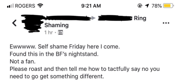 woman posts under Ring Shaming facebook group the ring she found in her BF nightstand