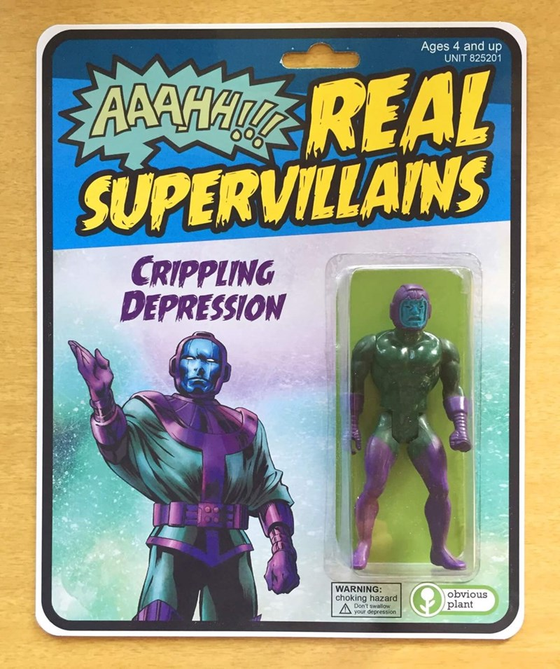 image of crippling depression the action hero doll known as the real supervillain