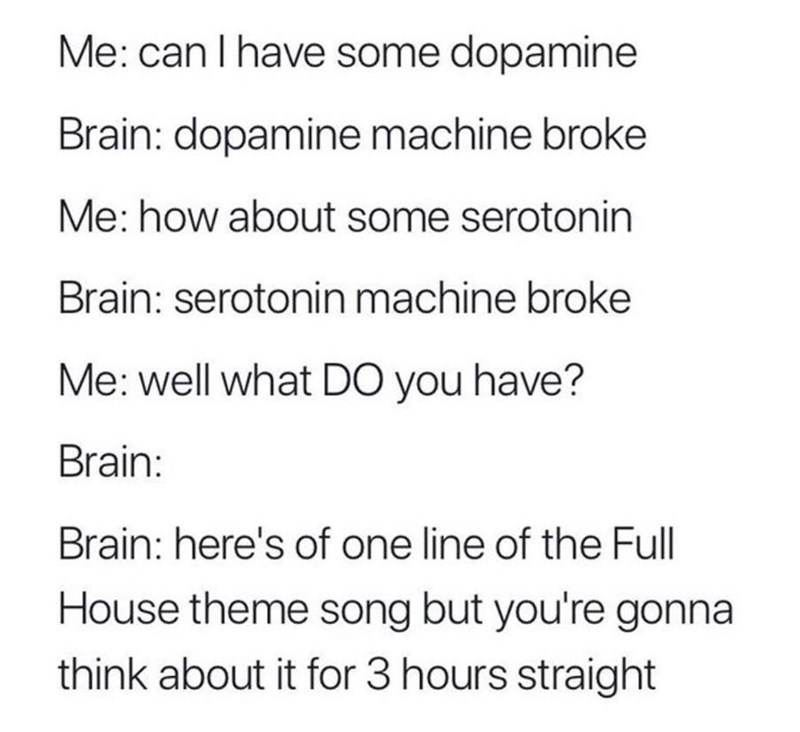 meme text about the brain lacking dopamine and serotonin but making the brain think about the full house theme song repeatedly instead
