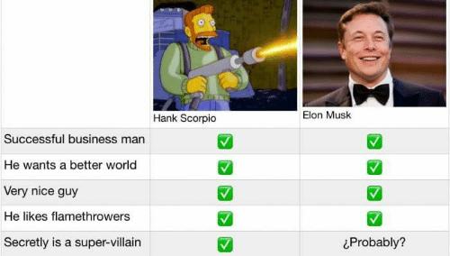 meme comparing elon musk and hank scorpio