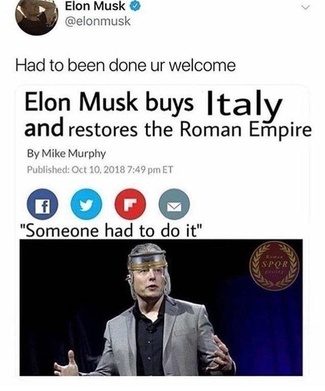 meme about Elon Musk restoring the roman empire