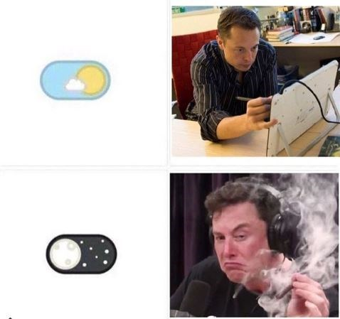 meme about elon musk during the day versus him at night
