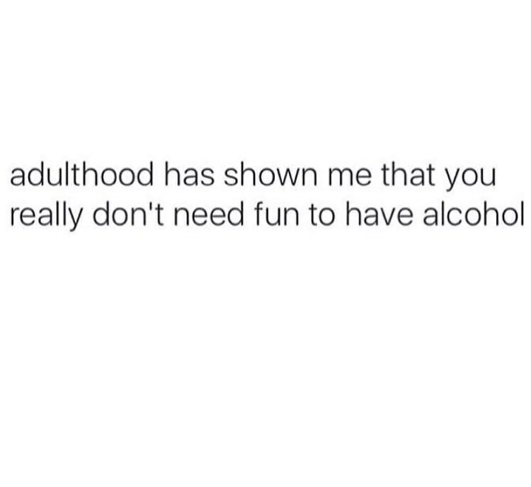 text that says adulthood has shown me that you don't need fun to have alcohol