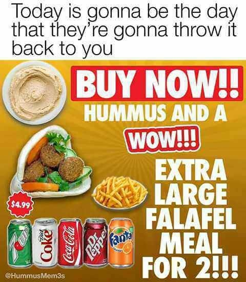 ad for falafel and hummus meal to the tune of Oasis' Wonderwall