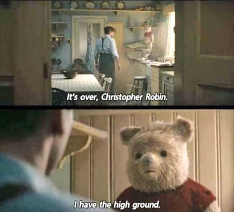 Star Wars meme about Winnie the Pooh having the high ground over Christopher Robin