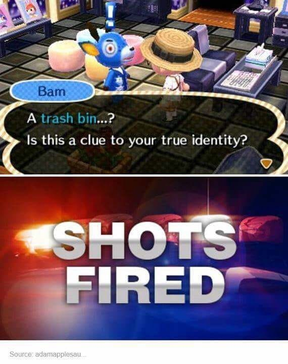 Animal Crossing meme about trash bin being clue to your identity