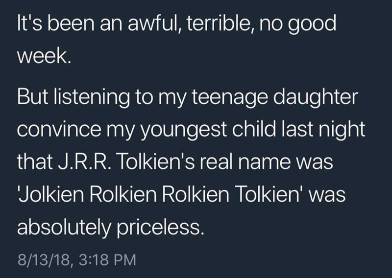 Tweet about teenage daughter teaching child JRR Tolkien's full name was Jolkien Rolkien