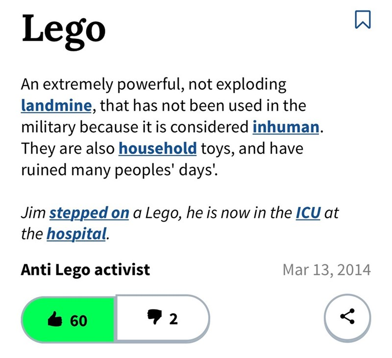 definition of the word Lego saying it's powerful and inhuman weapon when stepped on