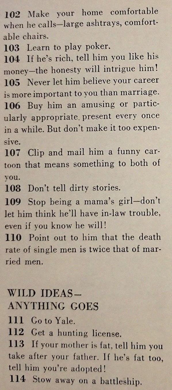 text on what behaviors will impress a 'husband'