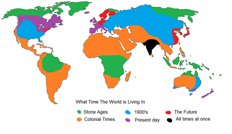 World - What Time The World is Living In Stone Ages The Future 1900's All times at once Colonial Times Present day
