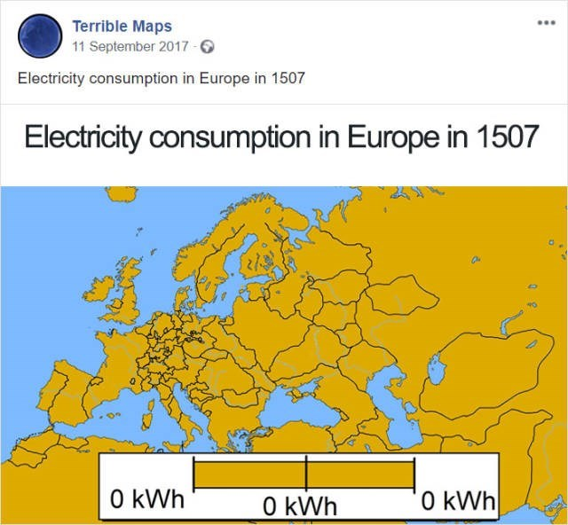 Text - Terrible Maps 11 September 2017- Electricity consumption in Europe in 1507 Electricity consumption in Europe in 1507 0 kWh 0 kWh O kWh