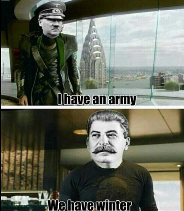 meme about Nazi troops losing to Russia due to winter with Hitler as Loki and Stalin as Tony Stark