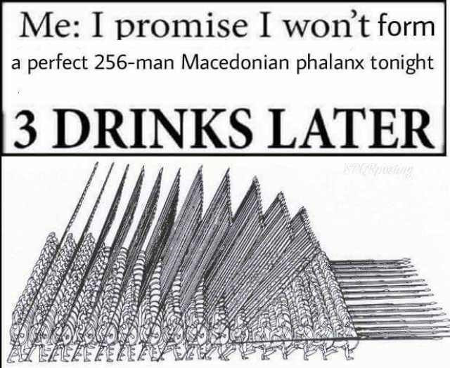 meme about getting drunk and forming a perfect Macedonian phalanx