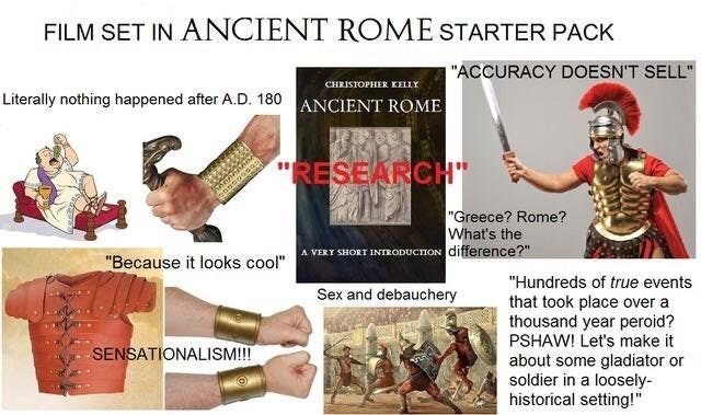 starter pack meme about films set in ancient Rome