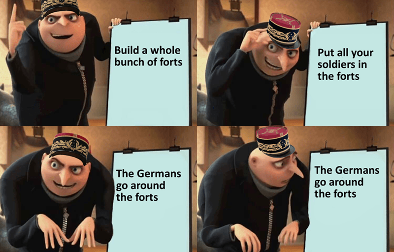 Gru's plan meme about the French building the Maginot line