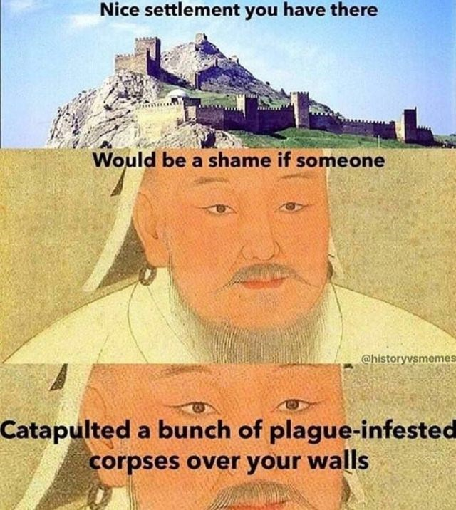 meme about Mongols catapulting plague infested corpses during the siege of Caffa