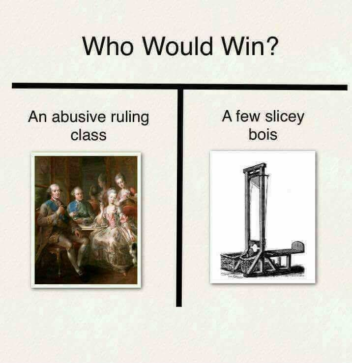 who would win meme about the French revolution with ruling class vs guillotine
