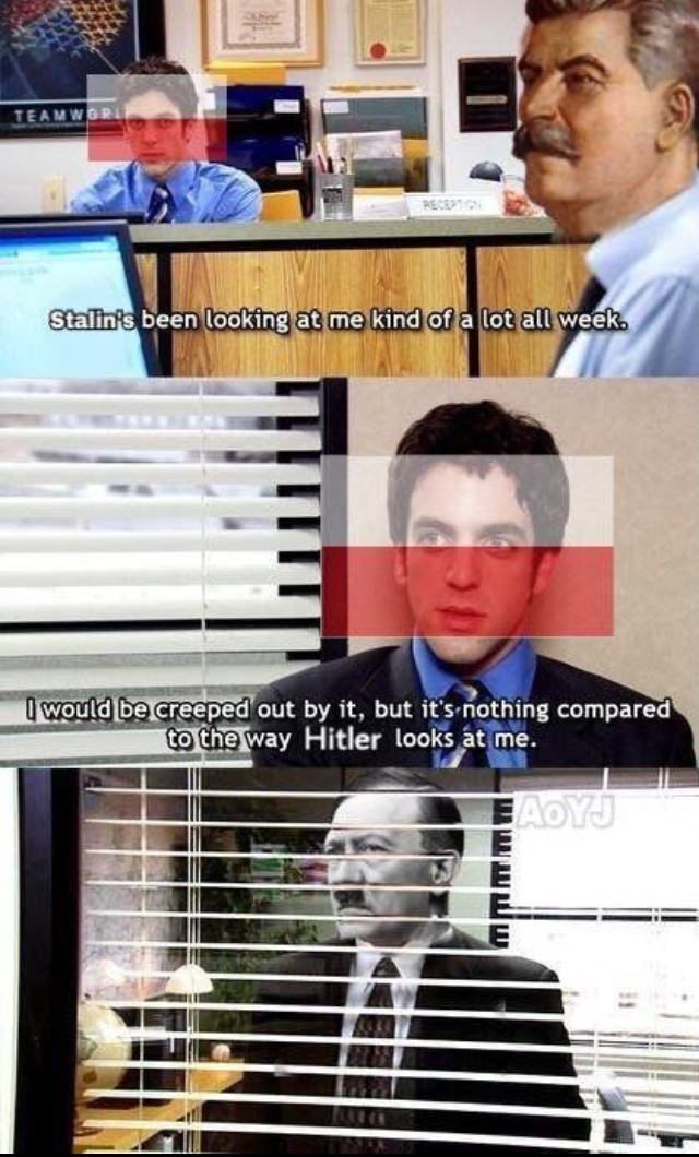Poland during WWII represented by Ryan from The Office
