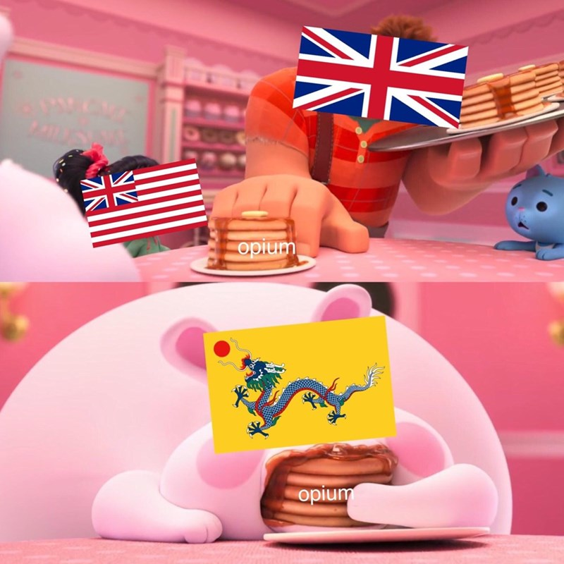 wreck it ralph meme about the US stuffing Qing dynasty China with opium